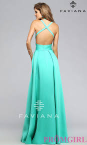 faviana high low open back prom dress promgirl