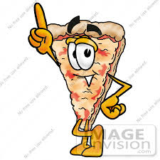 Clip Art Graphic of a Cheese Pizza Slice Cartoon Character Pointing Upwards by toons4biz