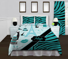 Charming Eiffel Tower Decor For Bedroom Visualizing Feminine Bedding Arrangement Mesmerizing White Bed And Blue