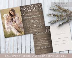 Photo Save The Date Postcard Printed Or Printable Calendar Style Blush Pink Country Wedding Cards Rustic Card DIY