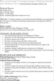 Fast Food Manager Resume Sample Example Of Restaurant