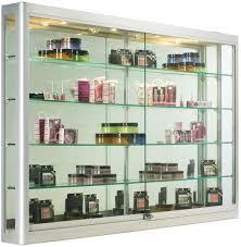 Wall Mounted Display Case W 4 Top Halogen Lights Mirror Back Locking
