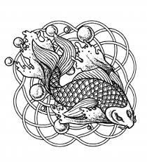 Coloring Page Mandala Fish And Bubbles