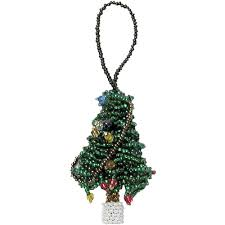 Christmas Tree Glass Bead Ornaments Crafted By Artisans In Guatemala Measure 2 1 High X Wide Deep