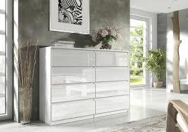 norg moderne kommode sideboard 8 schubladen weiß hochglanz 120 cm