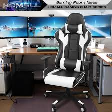 Homall Gaming Chair Racing Office Chair High Back Computer Desk Chair PU  Leather Executive And Ergonomic Swivel Chair With Headrest And Lumbar  Support ...