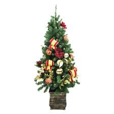 Slim Pre Lit Christmas Trees by National Tree Company 4 Ft Crestwood Spruce Potted Artificial