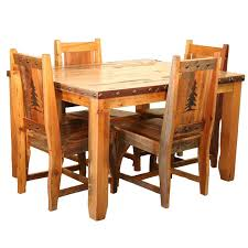 Barnwood Dining Table Chairs With Tree Carvings