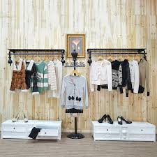 Great Iron Clothing Rack Wall Mounted Display On About Racks Ideas
