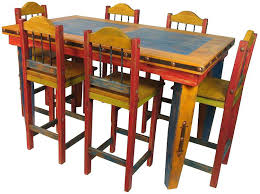 This Tall Painted Wood Dining Table Stools Enrich Southwest Rustic Decor Multi Color Antique Mexican Room Furniture Round