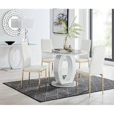 caba essgruppe mit 4 stühlen in weiß