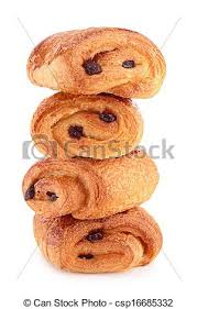 Stack Of Chocolate Croissant Isolated
