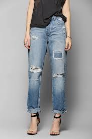 urban outfitters light before dark ripped boyfriend jean in blue