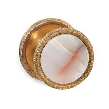 Sherle Wagner Italy Sink by Pink Onyx Knurled Door Knob In Antique Gold Sherle Wagner