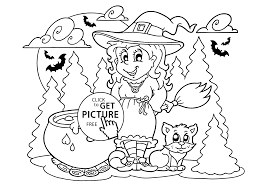Halloween Witch And Cat Coloring Page For Kids Printable Free