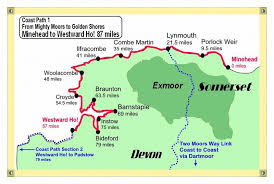South West Coast Path Walking Map Exmoor Holidays Devon Price Guide