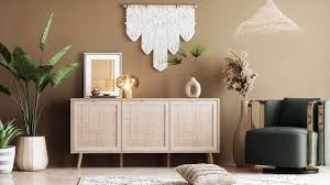 newroom sideboard mila sideboard sonoma eiche rattan modern boho skandinavisch highboard anrichte wohnzimmer kaufen otto