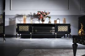 casa padrino luxus barock fernsehschrank schwarz gold 226 x 59 x h 68 cm barock wohnzimmerschrank mit 2 türen und schublade