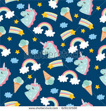 Seamless Pattern With Cute Little Unicorn Ice Cream Clouds Rainbow And
