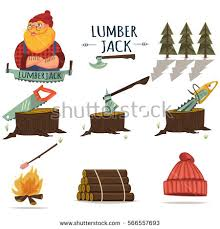 Lumberjack Timber And Woodworking Tools Vector Icons Isolated On White Background Chainsaw Axe
