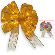 National Tree Company 9 In Gold Bow Topper With Dual Color LED Lights