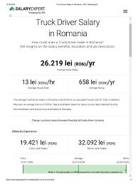 100 Truck Drivers Salary Driver In Romania ERI _ Expert