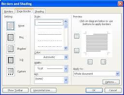 The Page Border Tab Of Borders And Shading Dialog Box