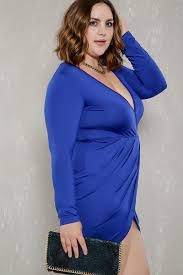 royal blue ruched tulip long sleeve plus size party dress