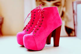 Shoes Fluo Pink Lita Platform Boot High Heels Girly Cute Vintage Look Retro Nice Pretty Cool