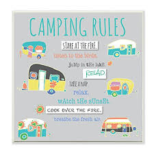 The Stupell Collection Camping Rules Wall Plaque