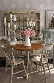 Shabby Chic Style Table For Kitchen With Soft Brown Patterned Wallpaper