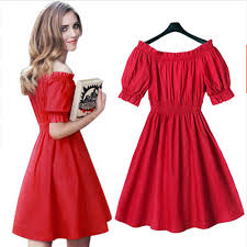 popular red off the shoulder dress puff sleeves buy cheap red off