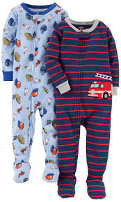Carter's Baby Boys' 2-Pack Cotton Footed Pajamas, Sports/fire Truck ...