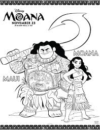 Disney Maui And Moana Coloring Page Coloring Book Coloriage