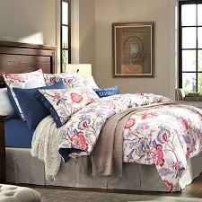 Hot Pink Blue And White Rustic Flower Garden Images Vintage Southwestern Style Tropical 100 Cotton Damask Full Queen Size Bedding Sets