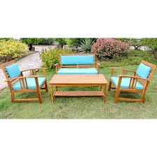 International Caravan Royal Tahiti Brisbane Acacia Wood 4 Piece Settee  Group With Cushions
