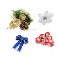 Poinsettia Christmas Balls Artificial Flowers Bowknots Pine Cones Ornaments For Tree Decorations Party Supplies Random Color Discount