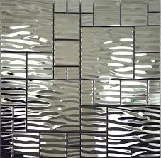 silver metal mosaic stainless steel kitchen wall tile backsplash