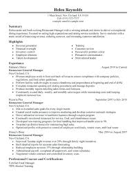 Sample Resume For General Manager Restaurant Optional Illustration Experience Jobs Summary