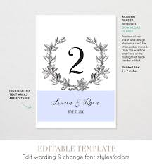 Printable Wedding Table Number Card Vintage Wreath Editable