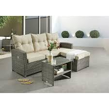 loungesofa durban set in grau inkl polster mit verstellbarem ottoman inkl tisch