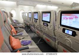 Emirates Airbus A380 Economy Class Seats Stock Royalty