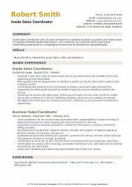 Inside Sales Coordinator Resume Example