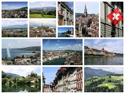 Travel Collage From Switzerland Includes Famous Places Like Berne Geneva Zurich And