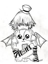 Emo Teddy Bear Coloring Page