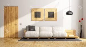 minimalistisches wohnzimmer mit weißer wand und holzmöbeln 3d rendering