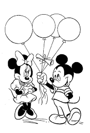 Mickey Give A Ballon Gift To Minnie In Mouse Clubhouse Coloring Page