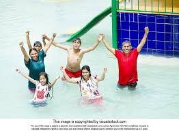 Happy Indian Family Bathing Swimming Pool Water Park Summer Holiday