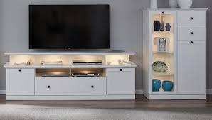 wohnwand baxter 3 teilig in weiß landhaus wohnkombination mit tv in komforthöhe 273 x 129 cm