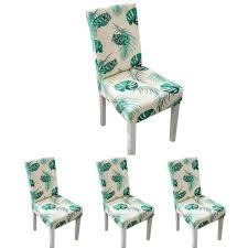 Auoker 4 PCs Chair Protective Covers Modern Stretch Dining Chair Covers  Removable Washable Spandex Slipcovers For High Chairs